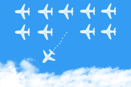 plane shape clouds changing direction ,new ideas, different business concepts