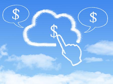 Cloud Computing Concept.click finger Make money cloud shape
