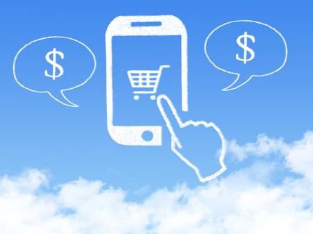Cloud Computing Concept.mobile phone click shopping cart cloud shape Stockfoto