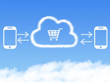Cloud Computing Concept.mobile phone shopping cart cloud shape Stockfoto