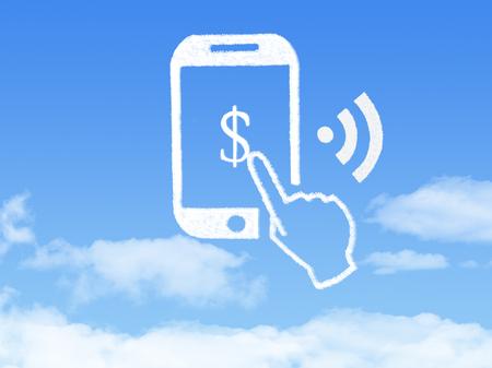 Cloud Computing Concept.mobile phone make money cloud shape