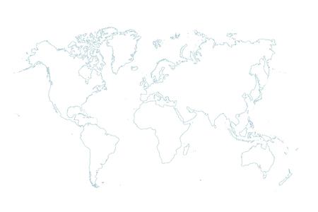 blauwe kaart van de wereld op witte achtergrond Stockfoto