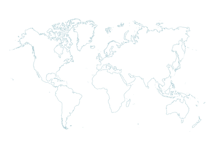 blue map of the world on white background Stockfoto