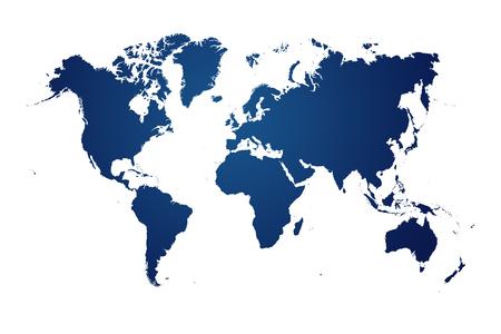 blaue Weltkarte auf weißem Hintergrund