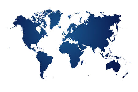 blauwe kaart van de wereld op witte achtergrond