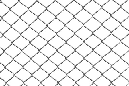 clôture à mailles losangées avec fond blanc Banque d'images