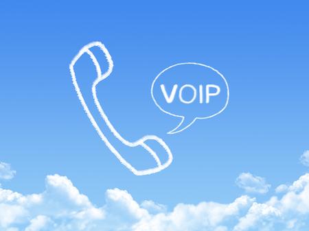 VOIP Network phone cloud shape on blue sky