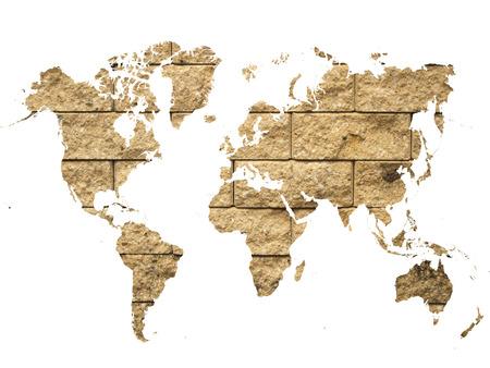 world map on brick wall background Stock Photo