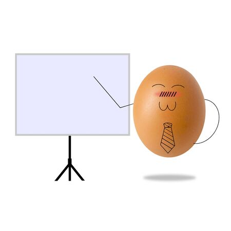 businessman egg presentation of the project Stockfoto