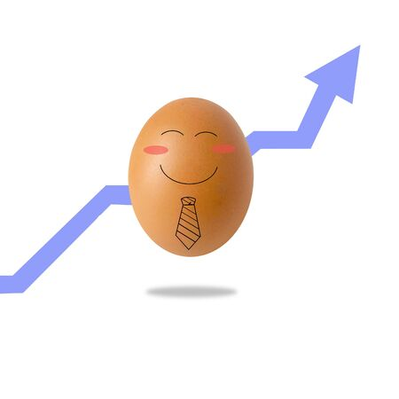 happy businessman egg on white background Stockfoto