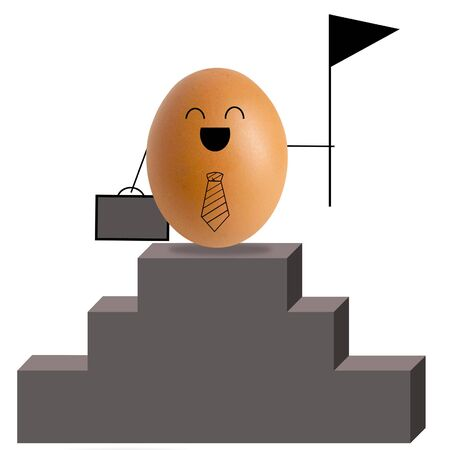 Businessman egg climbing stairs , success concept