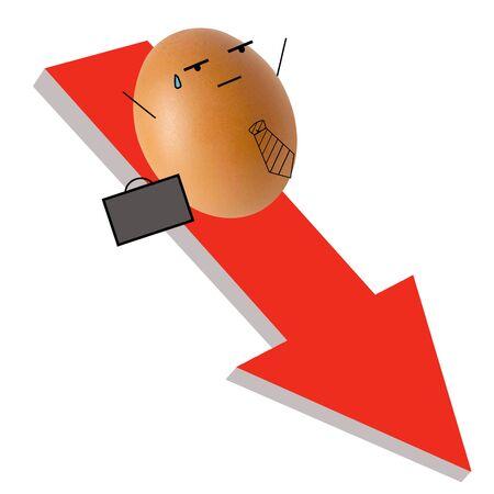 Businessman egg on falling down red arrow
