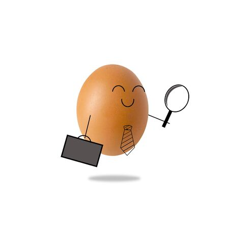 Businessman egg holding a magnifying glass , Concept of searching