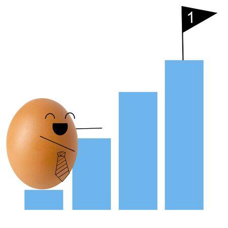 Businessman egg climbing graph , success concept