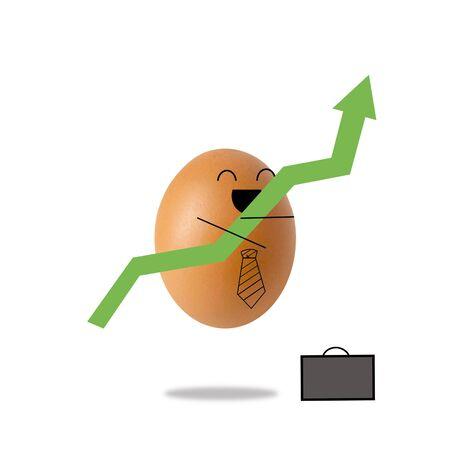 Businessman egg and green arrow , success concept
