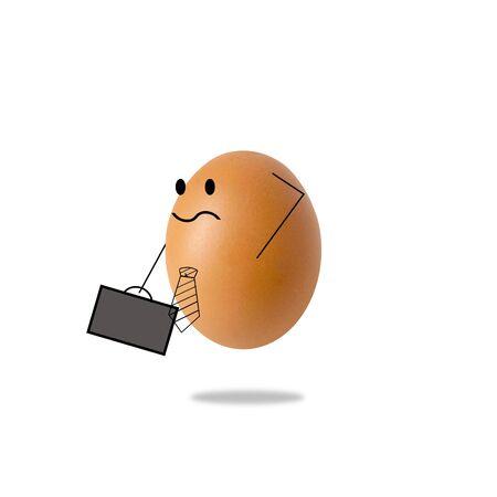 businessman egg thinking on white background