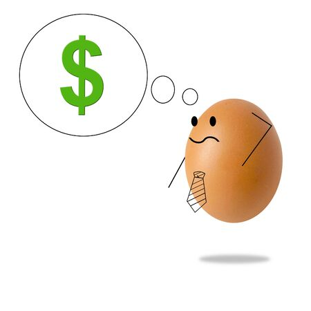 Businessman egg thinking about money
