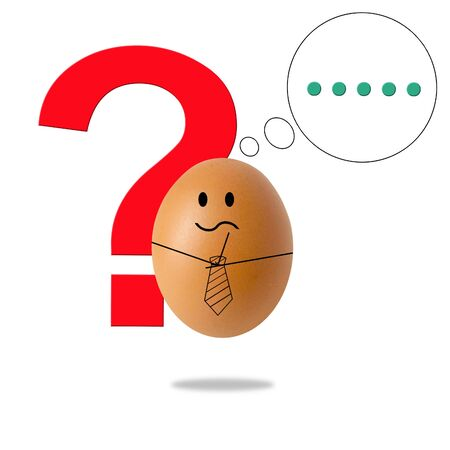 businessman egg thinking with question marks