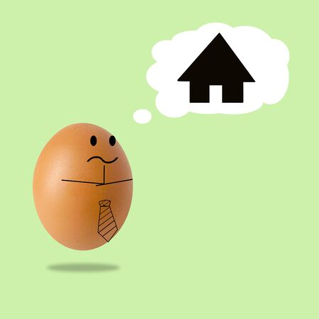 businessman egg thinking with home