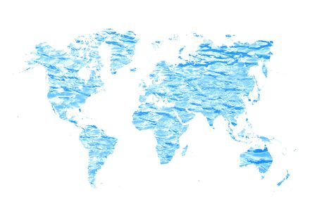 world map made of blue water concept
