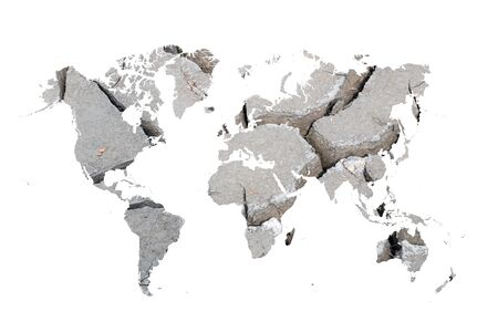 world map of dry and crack on white background 写真素材