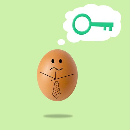 businessman egg thinking with success