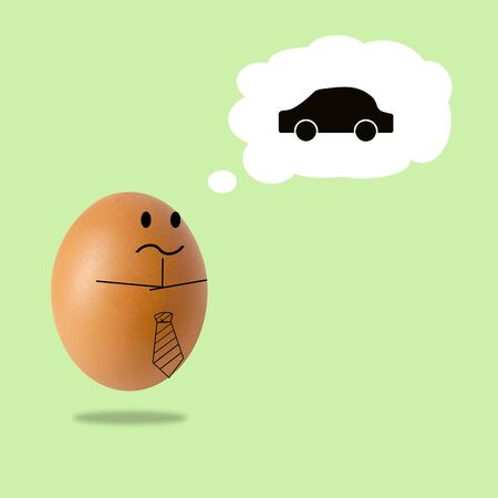 businessman egg thinking with car