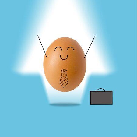 Businessman egg and white arrow , success concept
