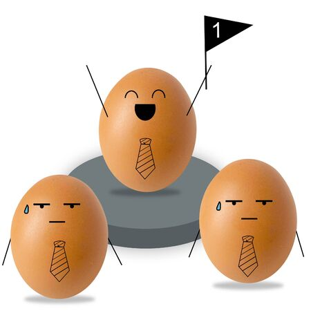 Businessman egg and stand , success concept Stock Photo