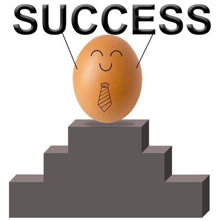 Businessman egg show success word