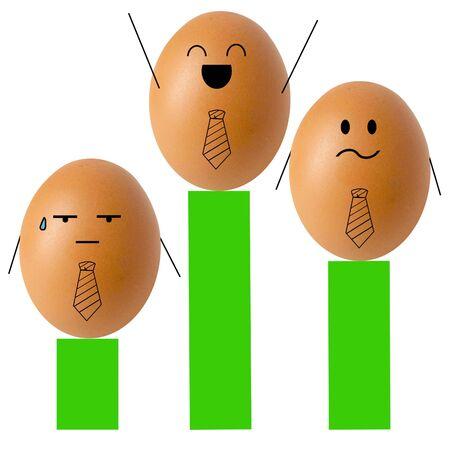 Businessman egg on bar graph , success concept Stock Photo