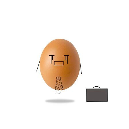 sad businessman egg on white background Stock Photo