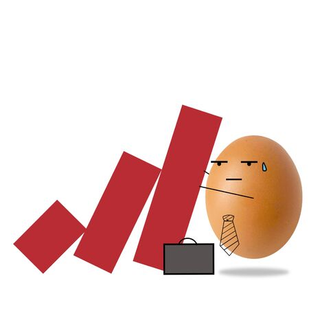 Businessman egg on falling down red graph