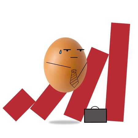Businessman egg on falling down red bar graph 스톡 콘텐츠