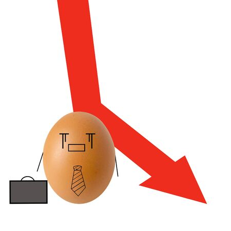 Businessman egg and falling down red arrow