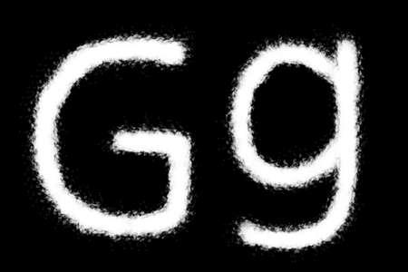 Cloud G alphabet shape on black background