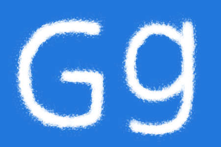 Cloud G alphabet shape on blue background