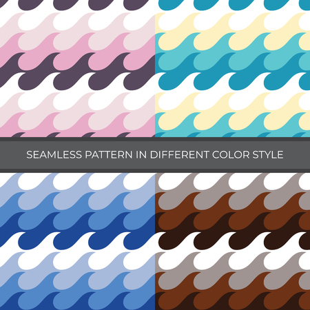 Set of Abstract Vector Pattern with four color style. Color are Pink, Green, Blue, Brown and used for backgrounds, wallpapers, textile and illustration - Vector