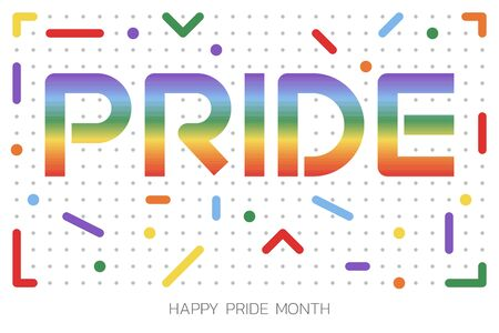 LGBT Pride Month illustration with typography text in rainbow color. Poster, card, banner and background. Vector illustration