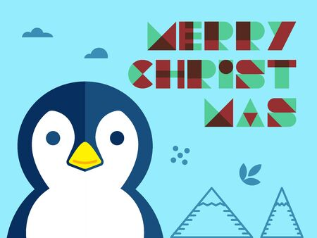 Penguins in flat design background in blue tone