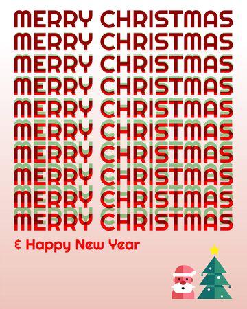 Libellé de typographie joyeux Noël et bonne année dans les couleurs vertes et rouges par technique de chevauchement - illustration vectorielle