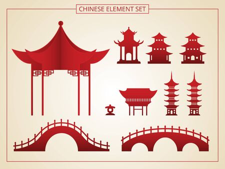 Chinese architecture, bridge, pagoda in papercut style. Suitable for graphic, banner, card, flyer and many purpose Illusztráció