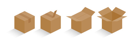 Carton box color with shadow total containing process vector illustration  イラスト・ベクター素材