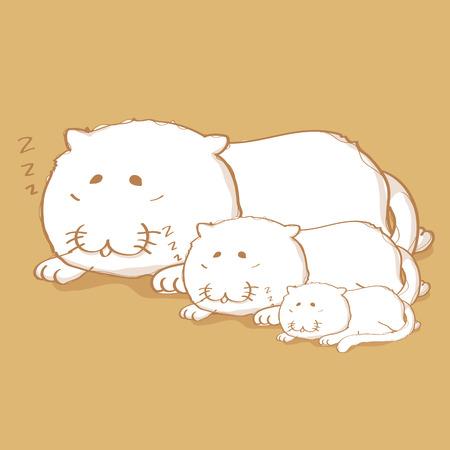 cat sleeping: Three cat sleeping cartoon character design on light brown color background
