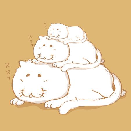 cat sleeping: Three cat sleeping cartoon character design on yellow gold color background