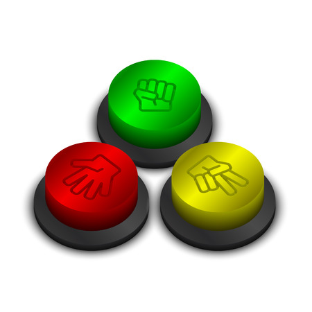 stone paper scissors rock paper scissors buttons green yellow and red color on