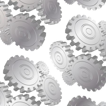metal gears: 3D metal gears pattern on white background