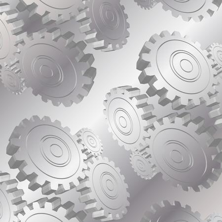 metallic background: 3D metal gears pattern on metallic background
