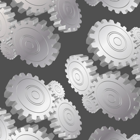 metal gears: 3D metal gears pattern on grey background