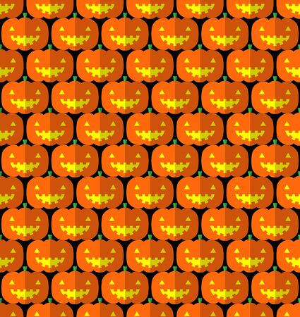 pumpkin head: Jack-o-lantern pumpkin head pattern on black background